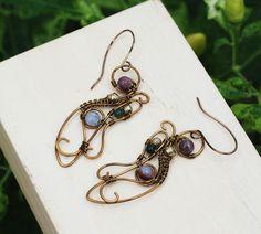 Bloodstone Healing Gemstone Earrings Bronze Wire Wrap Artisan Spiral Swirl Work #Jeanninehandmade #Wrap