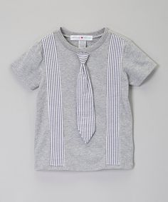 Look at this little bits Heather Gray & White Tie Tee - Infant, Toddler & Boys on #zulily today!