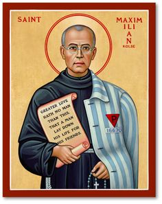 The culmination of this Franciscan priest's heroic life of charity, missionary zeal, and self-sacrifice came when he was imprisoned in the Nazi concentration camp of Auschwitz. There he continually inspired his fellow inmates by his bold confession of Christ and his example of charity even under these extreme conditions. Following the example of his heavenly Master he made the greatest sacrifice of all, volunteering to die in place of another prisoner.   Read more at:  Saint Maximilian…