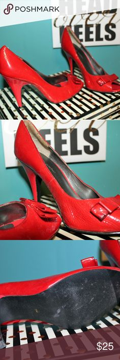 Gorgeous Red Peep Toe Pumps Size 7.5 These are statement making shoes. They are shiny material. Worn once or twice. Wear them to work or with a pair of jeans. You will love these! Casa di Torino Shoes Heels