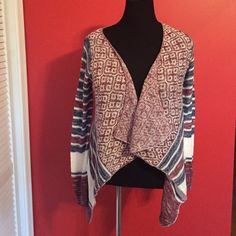 Host Pick Cute Lightweight Cardigan-Blue-Cream and Maroon Colors Sweaters Cardigans