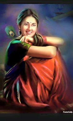 Punjabi Artwork of a village girl _ Artist_ Raviraj Kumbhar Indian Women Painting, Indian Art Paintings, Indian Artist, Abstract Paintings, Oil Paintings, Krishna Painting, Krishna Art, Woman Painting, Figure Painting