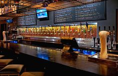 Bar Table Hospitality design of Tap 42 bar and Kitchen, Fort Lauderdale Back Bar Design, Pub Design, Bar Interior Design, Restaurant Design, Restaurant Bar, Bar Tables For Sale, Fort Lauderdale Restaurants, Beer Bar, Hospitality Design