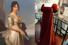 Left: A portrait of Dolly Madison, circa 1800; right: Dolly Madison's famous red dress on display at the home on James Madison in Montpelier, Va.
