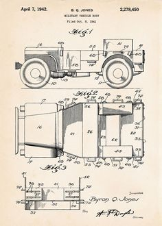 1942 Jeep Willys WW2 Military Gifts Army Decor Patent Art Print Drawings GP GPW #Vintage #PatentArtPrints