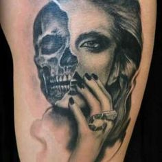 Beautiful woman face. Half womand half skull Love it♥