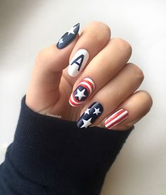 Cute Nail Art, Cute Nails, Pretty Nails, Manicure, Gel Nails, Gel Nail Designs, Cute Nail Designs, Captain America Nails, Superhero Nails