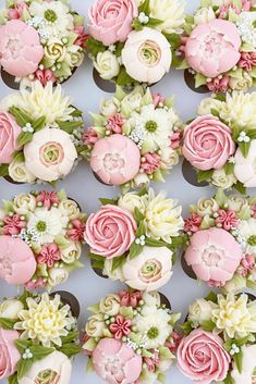 In terms of wedding desserts, couples have a number of different (and delicious! Cake pops, donuts, and macaroons have all been popular in recent Cupcake Flower Bouquets, Floral Cupcakes, Floral Cake, Flower Cakes, Flower Cupcake Cake, Cupcake Art, Buttercream Flower Cake, Buttercream Flowers Tutorial, Buttercream Designs