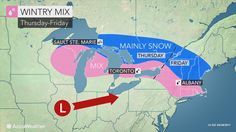 As a storm runs into the warm-cool air battleground in place across the northeastern United States, areas of wintry and wet weather will occur by week's end.
