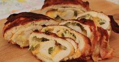 Pollo relleno con queso al horno