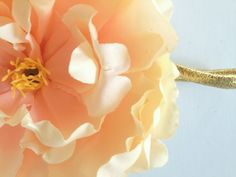 LELA Giant  Luxe Peach Cream Silk Peony on Gold Headband for Infants, Babies, Toddlers, Kids and Adults