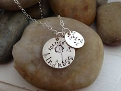 Scatter Kindness hand stamped dandelion necklace by thecharmedwife, $27.00