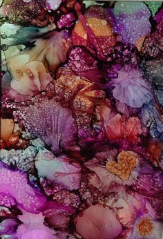 Alcohol ink painting. Abstract. Floral.