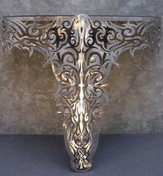 """Limited edition stainless steel demi lune console. Stamped Authenticated """"one-off"""" pieces made by hand.  luxury brands, luxury living, glamorous style, luxury life, limited edition, exclusive furniture, exclusive design For more limited editions, visit our blog www.designlimitededition.com"""