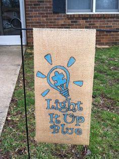 Autism awareness burlap yard flag. $10.00, via Etsy.