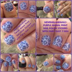 Purple Animal Print Nail Polish Stickers From The Dollar Tree with China Glaze Fairy Dust as a top coat.