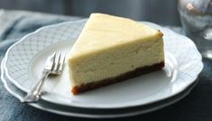 The classic New York baked #cheesecake with a rich and creamy vanilla topping and a simple biscuit base.