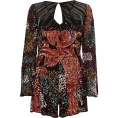 River Island Black sequin embellished bell sleeve romper (1403825 PYG) ❤ liked on Polyvore featuring jumpsuits, rompers, long-sleeve romper, v neck romper, sequin romper, bell sleeve rompers and sequin rompers