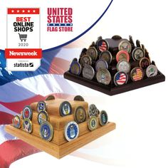 Challenge Coin Cases and Displays for coin collectors are sold at United States Flag Store in several different configurations. Military Flags, Flag Store, Coin Display, Challenge Coins, Patriotic Decorations, American Pride, Walnut Finish, Spice Things Up, Challenges