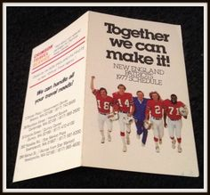 1977 NEW ENGLAND PATRIOTS CRIMSON TRAVEL FOOTBALL POCKET SCHEDULE FREE SHIPPING #Pocket #PocketSchedules