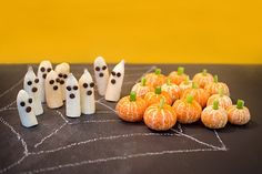 Make some healthier snacks for halloween. Pumpkins made from celery and Ghosts made from Bananas cut in half and some chocolate drops.