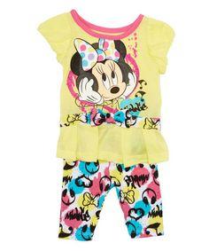 Look at this #zulilyfind! Yellow Minnie Mouse A-Line Dress & Leggings - Toddler & Girls #zulilyfinds