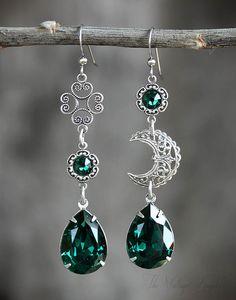 Celtic Moon Silver Asymmetrical Earrings