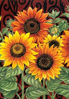 Toland Home Garden Sunflower Medley 28 x 40 Inch Decorative Summer Fall Flower Floral House Flag Sunflower Pictures, Sunflower Art, Sunflower Paintings, Sunflower Garden, Images Of Sunflowers, Paintings Of Sunflowers, Sunflower Colors, Orange Sunflowers, Lawn And Garden