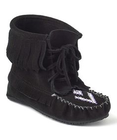 Take a look at this Black Harvester Suede Moccasin Boot by Manitobah Mukluks on #zulily today!