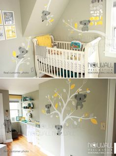 Removable Grey Koala Bear wall decal on branches Animal by NouWall
