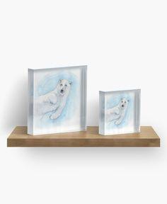 """Polar bear underwater"" Acrylic Block by @savousepate on @redbubble #watercolor #painting #polarbear #whitebear #acrylicblock #artprint #homedecor"