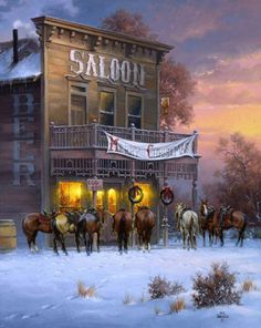 Old west saloon Old West, Western Christmas, Country Christmas, Westerns, Christmas Scenes, Christmas Art, Cowboy Pictures, Cowboy Pics, Cowboy Horse