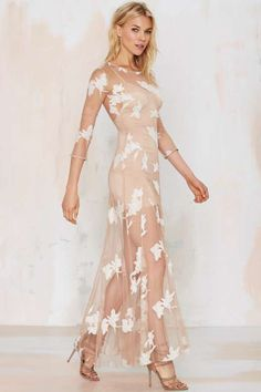 For Love & Lemons Orchid Embroidered Maxi Dress