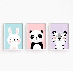 Sale 50% Off Nursery Art Set of 3 Baby Animals : Bunny Panda