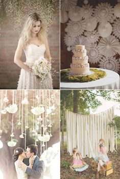 Telones de fondo para bodas – Pompones de papel, paniculata, molinillos de papel