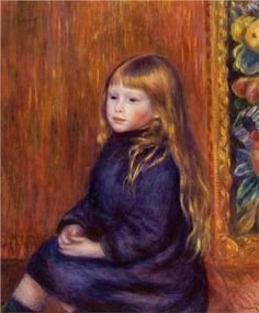 Seated Child in a Blue Dress - Pierre-Auguste Renoir