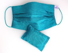 Washable Silk Face Mask Turquoise doubled with of 100% cotton fabric Lavender Sachets, Ikat, The 100, Cotton Fabric, Turquoise, Silk, Face, Fashion, Moda