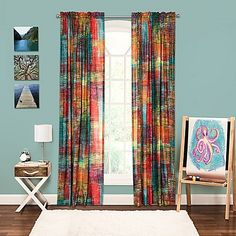 Liven up your bedroom with the eye-catching Crayola Etch 84 Rod Pocket Window Panel. The vibrant panel combines inventive crosshatching with striking multicolored hues to create a bold and graphic pattern.