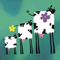 Freda, Freddy and Fran - Rachel Deacon Framing Canvas Art, Cow Painting, Cow Art, Pet Rocks, Naive Art, Whimsical Art, Cute Illustration, Animal Paintings, Fabric Art