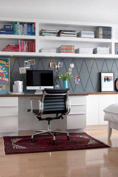 Home Office , Home Office Design Ideas : Home Office Design With Wall Mounted Book Case And Desk With Ergonomic Chair And Rug Love background ribbon board
