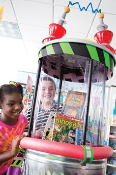 What can you do with a trash can, some duct tape, a pool noodle, and this season's hottest titles? Create a fun and easy book display, of course!    Check out your Book Fair Chairperson Toolkit for more tips and tricks.