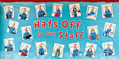 """""""Hats Off to Our Teachers!"""" was the main theme of this Dr. Seuss-themed celebration. A few weeks prior to the event, a photographer-parent took Dr. Seuss photo booth-style photos of all of the school's faculty. Each teacher's photograph hung on"""