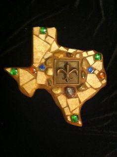 Mosaic Texas with Fleur de lis tile center.  Tiles/beads. $45