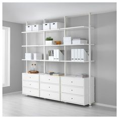 IKEA ELVARLI 3 sections White 258 x 51 x cm You can always adapt or complete this open storage solution as needed. Maybe the combination we've suggested is perfect for you, or you can easily create your own. Ikea Stolmen, Elvarli Ikea, Kallax Shelf Unit, Bamboo Shelf, Ceiling Materials, Honeycomb Paper, Painted Drawers, Closet System, Drawer Fronts