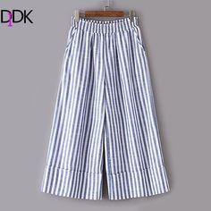 DIDK Women's Elastic Waist Vertical Striped Wide Leg Pants 2017 Autumn Mid Waist Long Dress Casual Trousers For Ladies #Affiliate