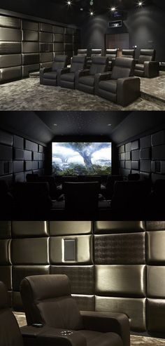 Home Theater with acoustic panels of varying thickness and fabrics for a cool…