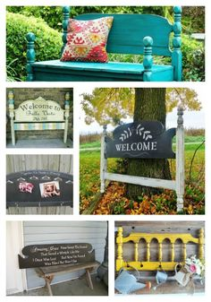 Don't know what to do with an old headboard? Here are some cute DIY ideas for ways that you can repurpose an old headboard Diy Garden Furniture, Repurposed Furniture, Furniture Projects, Nest Furniture, Furniture Websites, Furniture Stores, Old Headboard, Diy Headboards, Headboard Ideas