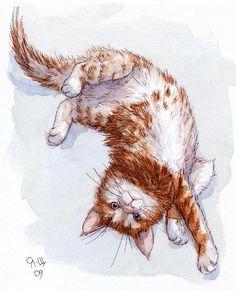 Red Kitten Stretch Painting by Svetlana Ledneva-Schukina