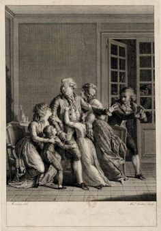 Les adieux de Louis XVI, depicting the King's final farewell to his family, 1793 engraving by Alexandre Tardieu