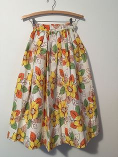 Vintage Novelty print Floral Cotton skirt 1950s MCM Autumn Hues Full gathered #Handmade